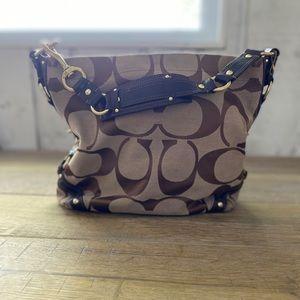Coach Pattern Brown Bucket Bag